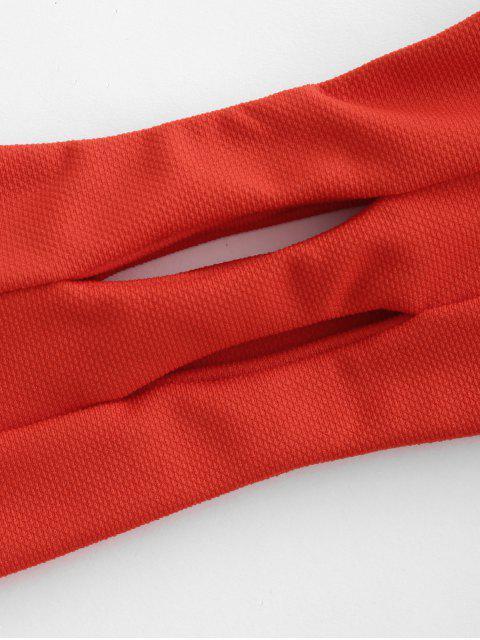 shops ZAFUL Textured Hollow Out Ruffle Bandeau Bikini Swimsuit - BRIGHT ORANGE M Mobile