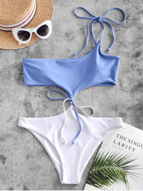 sale ZAFUL Tie Two Tone One Shoulder Monokini Swimsuit - LIGHT SKY BLUE S Mobile