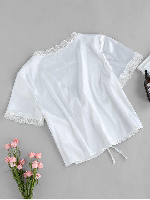 affordable ZAFUL Eyelash Lace Front Tie Satin Blouse - MILK WHITE L Mobile