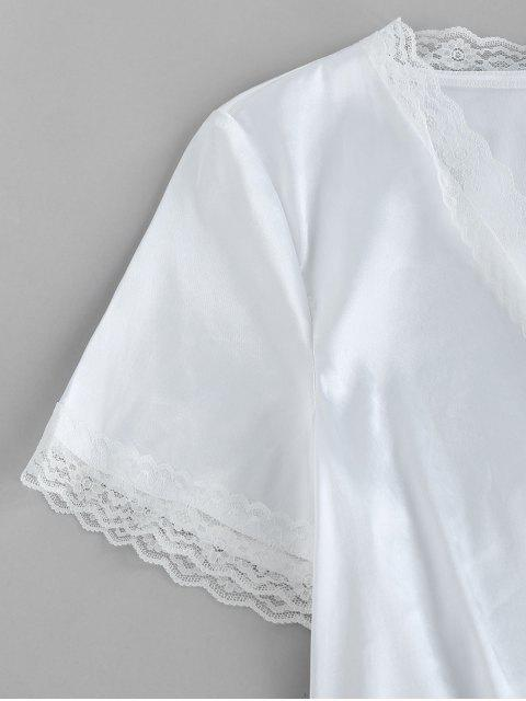 fancy ZAFUL Eyelash Lace Front Tie Satin Blouse - MILK WHITE XL Mobile