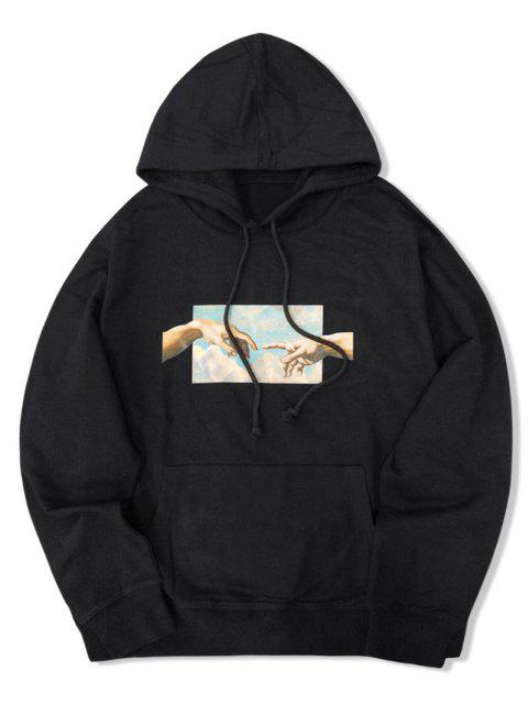 online Helping Hands Graphic Front Pocket Lounge Hoodie - BLACK XS Mobile