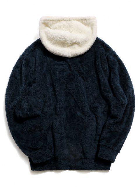 new ZAFUL Colorblock Kangaroo Pocket Fluffy Hoodie - CADETBLUE L Mobile