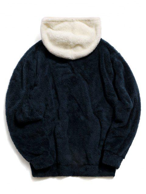 women's ZAFUL Colorblock Kangaroo Pocket Fluffy Hoodie - CADETBLUE M Mobile