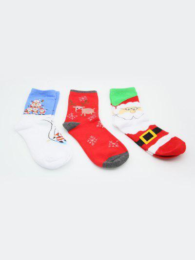 3Pairs Elk Santa Claus Christmas Socks Set