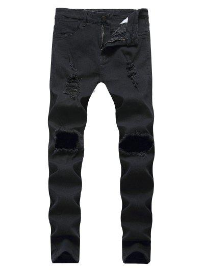 Destroyed Decoration Zip Fly Slim Jeans - Black 32