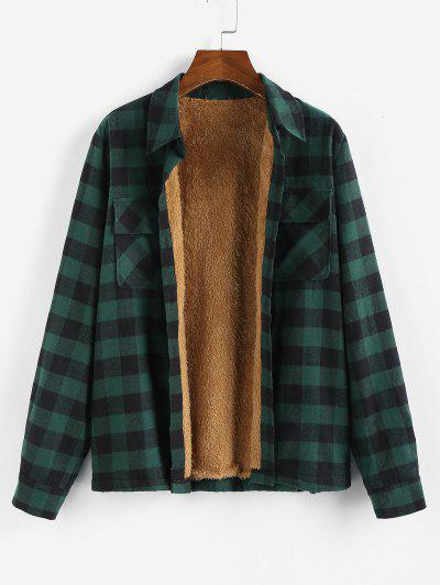 Plaid Faux Fur Lining Shirt Jacket - from $26.49