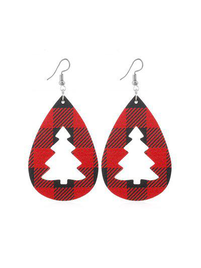 Plaid Leather Hollow Christmas Tree Earrings - from $2.05