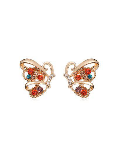 Metallic Butterfly Pattern Stud Earrings - from $3.10