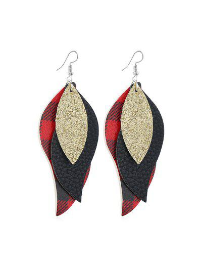 Leaf Shape Plaid Drop Earrings - from $3.57