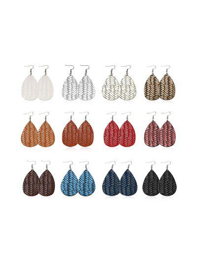 12 Pairs Herringbone Water Drop Earrings Set