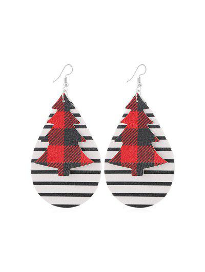 Christmas Tree Leather Striped Earrings - from $2.68