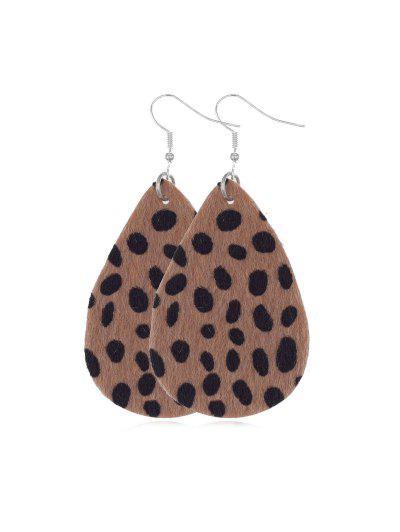 Spots Mohair Water Drop Earrings - Leopard