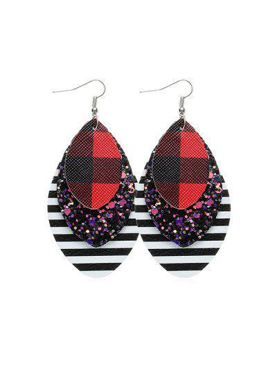 Sequined Plaid Teardrop Hook Earrings - from $3.70
