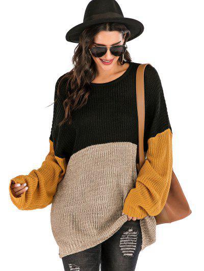 Colorblock Crew Neck Longline Sweater - Multi S
