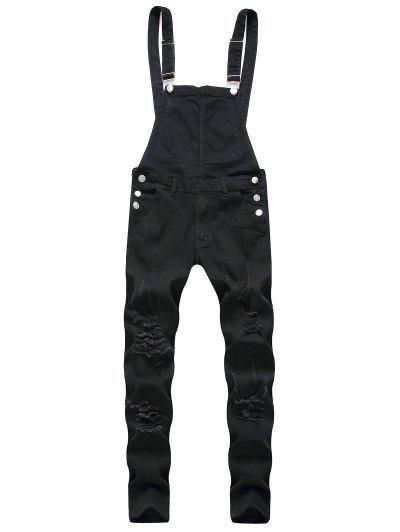 Solid Color Ripped Zipper Denim Overalls - Black 3xl