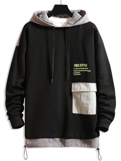 Zaful / Freestyle Graphic Color-blocking Drop Shoulder Hoodie