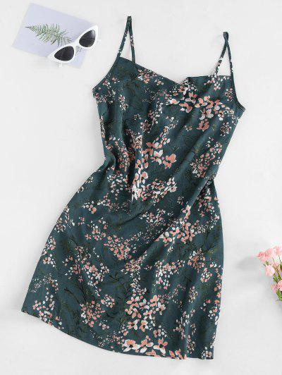 ZAFUL Floral Print Cowl Front Cami Dress - Dark Turquoise S