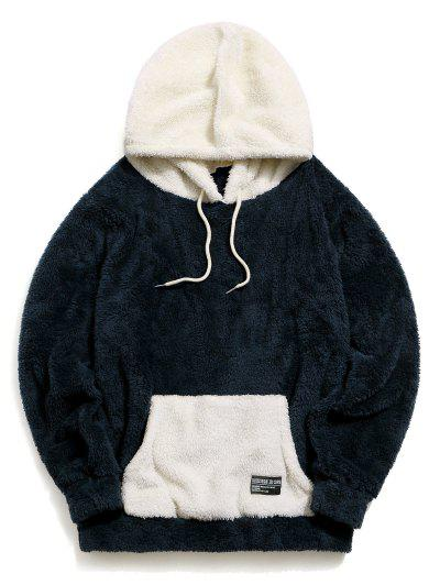 ZAFUL Colorblock Kangaroo Pocket Fluffy Hoodie - Cadetblue M