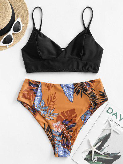 ZAFUL Floral Leaf Lace-up Tankini Swimsuit - Black L