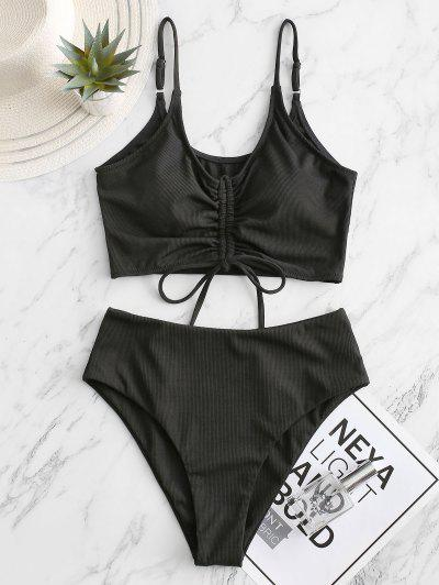 ZAFUL Ribbed Cinched High Waisted Tankini Swimsuit - Black L
