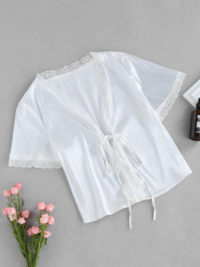 ZAFUL Eyelash Lace Front Tie Satin Blouse - Milk White L