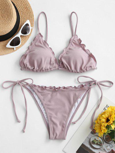 ZAFUL Lettuce Trim Tied String Bikini Set - Lilac L