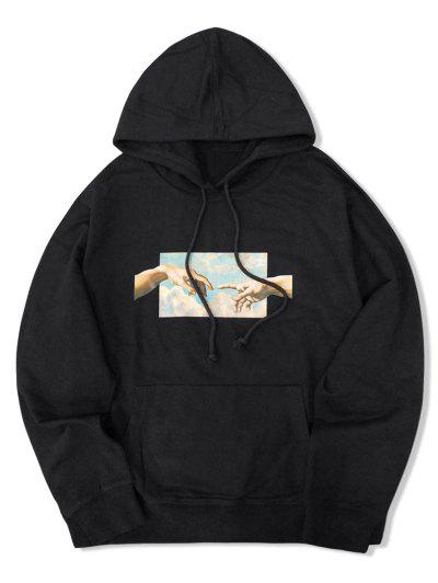 Helping Hands Graphic Front Pocket Lounge Hoodie - Black Xl