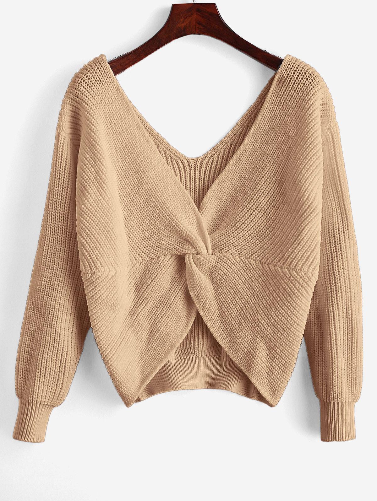 ZAFUL x Yasmine Bateman Twisted Plunging Drop Shoulder Jumper Sweater