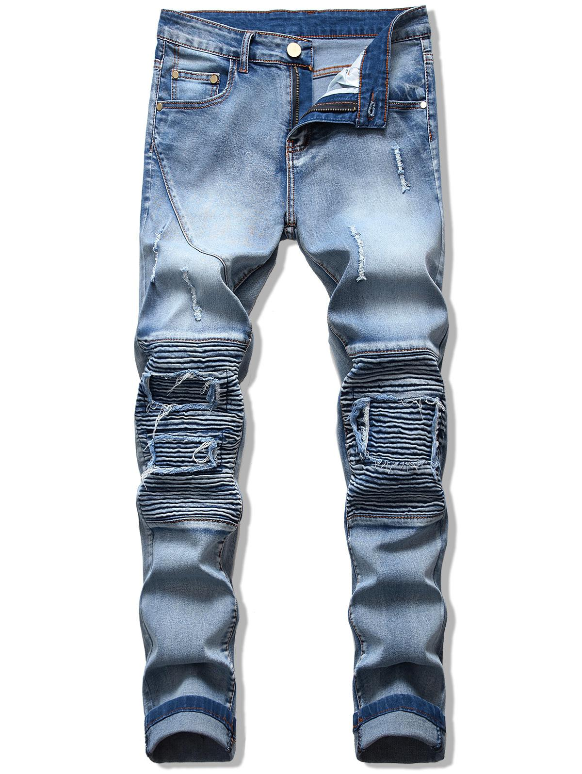 Pleats Patchwork Ripped Denim Pants