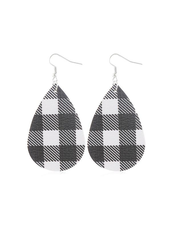 Plaid Leather Water Drop Earrings