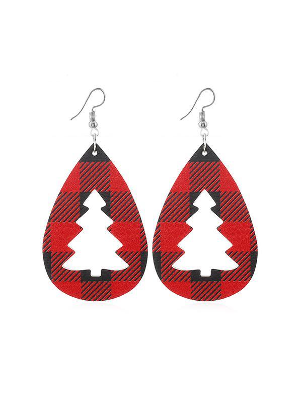 Plaid Leather Hollow Christmas Tree Earrings фото