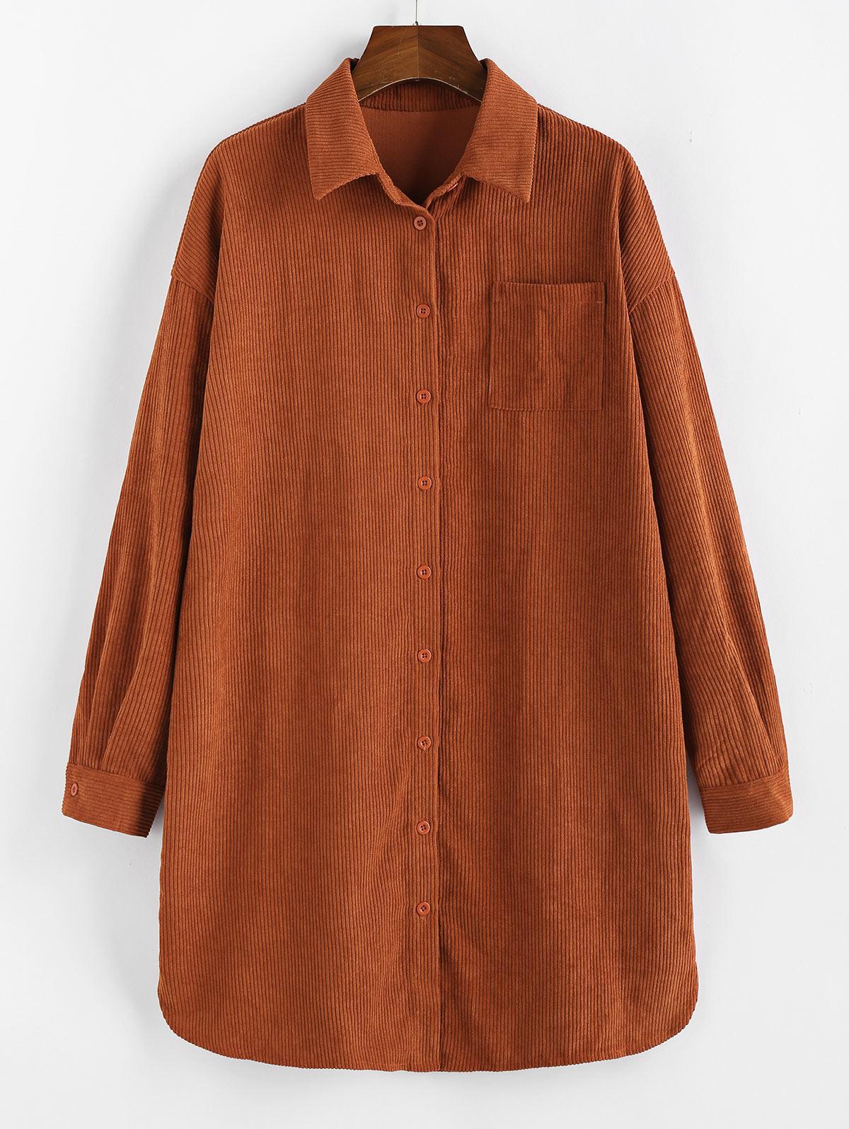 ZAFUL Corduroy Patched Pocket Straight Shirt Dress фото