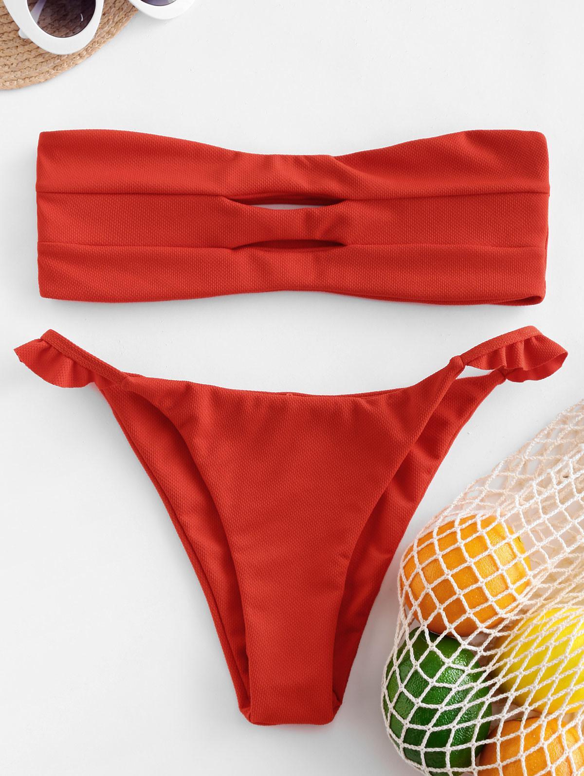 ZAFUL Maillot de Bain Bikini Bandeau Texturé Evidé à Volants M - Zaful FR - Modalova