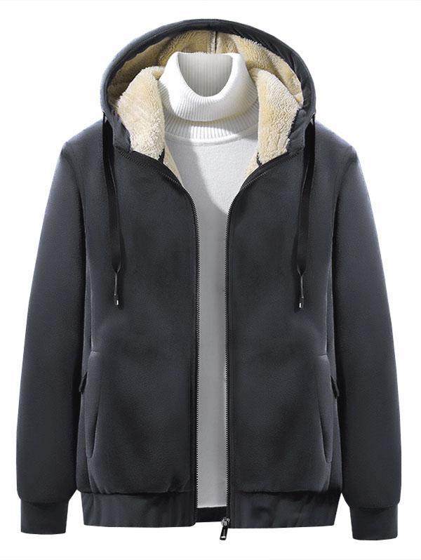 Raglan Sleeve Solid Plush Hooded Jacket фото