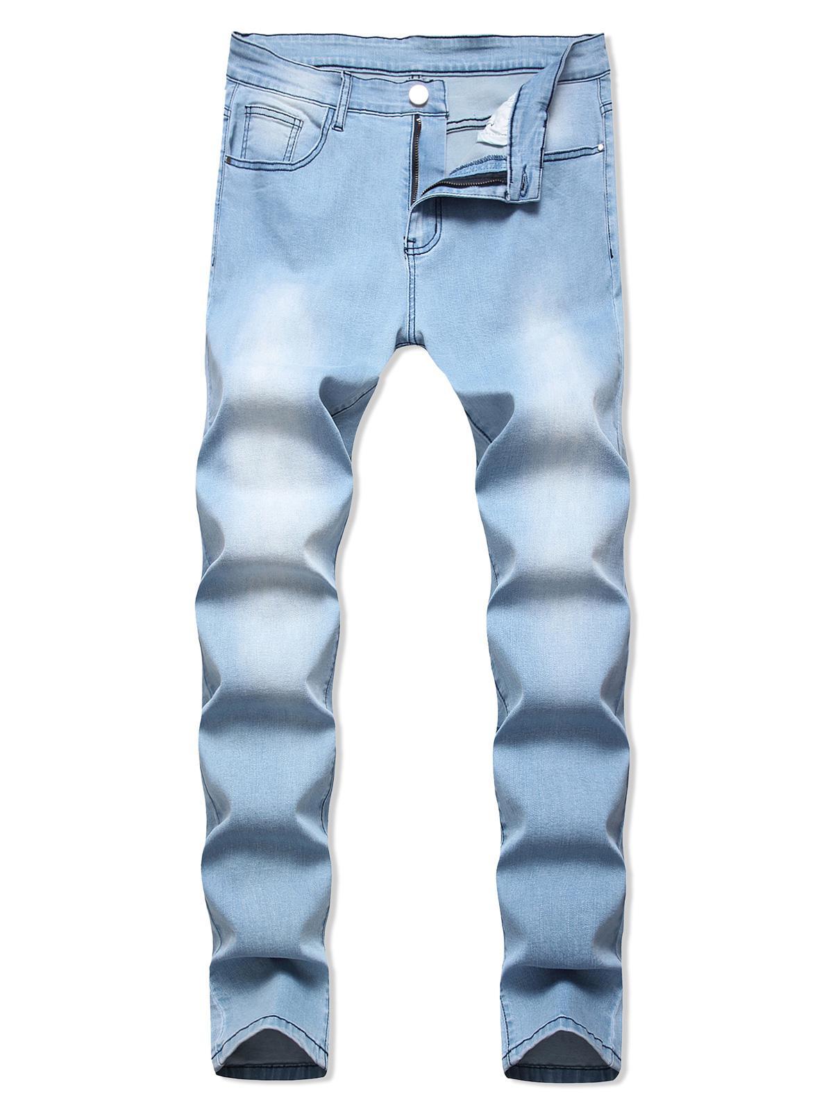 Light Wash Zipper Fly Casual Jeans фото