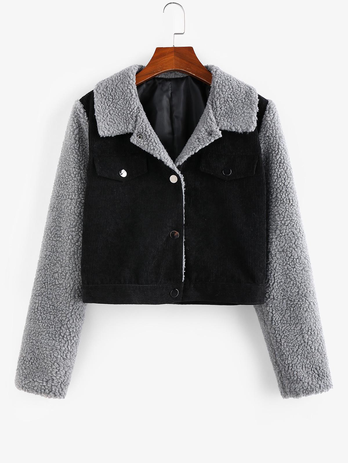 ZAFUL Corduroy Faux Fur Insert Colorblock Crop Jacket