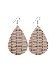 Weaving Pattern Leather Water Drop Earrings