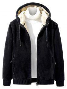 Solid Plush Hooded Jacket