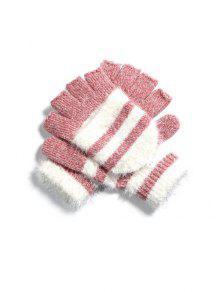 قفازات الشتاء مخطط أصابع محبوك - زهري