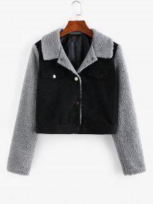 Corduroy Faux Fur Panel Jacket