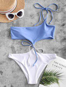 One Shoulder Two Tone One piece Swimsuit