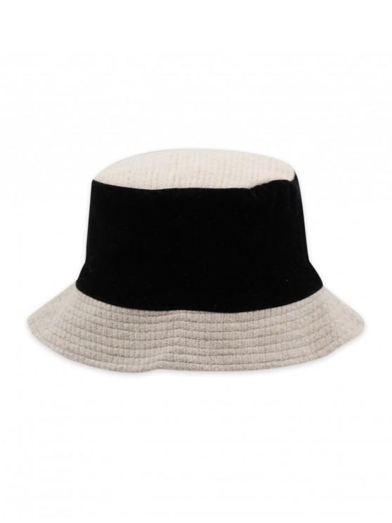 Remiendo de punto reversible del sombrero del cubo - Blanco