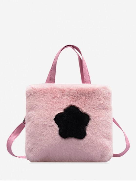 outfits Star Graphic Plush Mini Crossbody Bag - LIGHT PINK