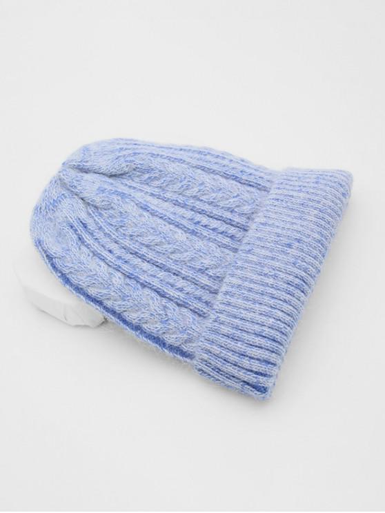 الشتاء ارفع حافة مزين القبعة - أزرق