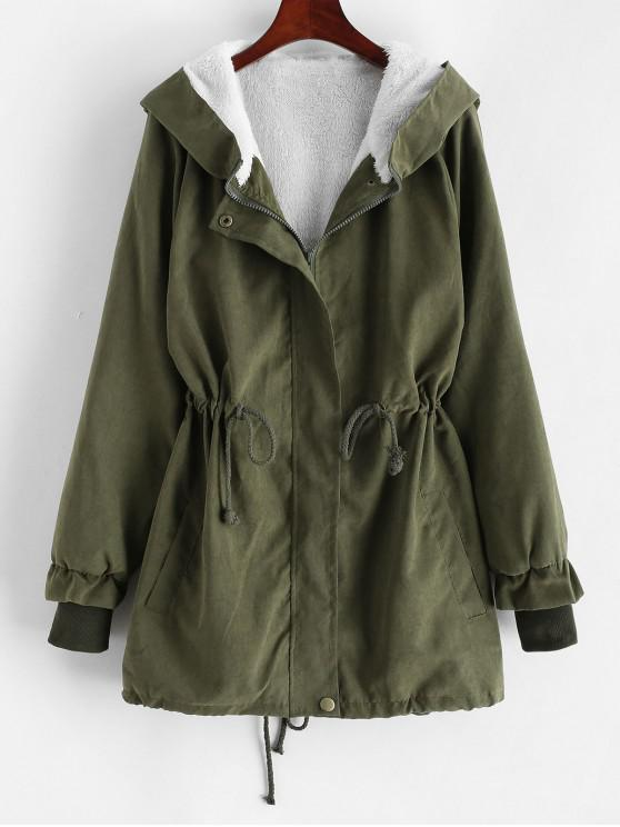 chic Hooded Faux Fur Lining Drawstring Waist Coat - ARMY GREEN M
