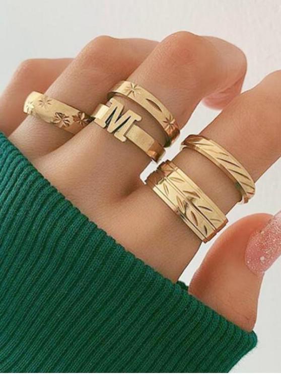 best 5Pcs Letter Engraved Ring Set - GOLD