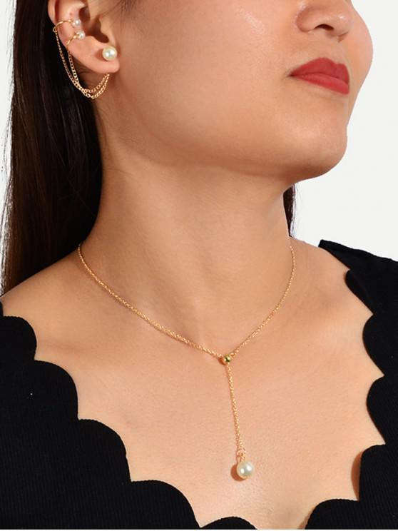 ladies Faux Pearl Brief Necklace Earring Set - GOLD