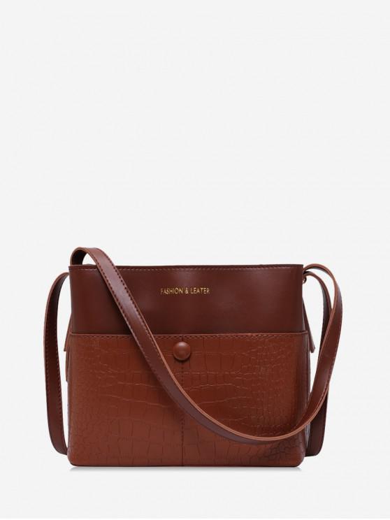best Animal Embossed Leather Bucket Bag - BROWN