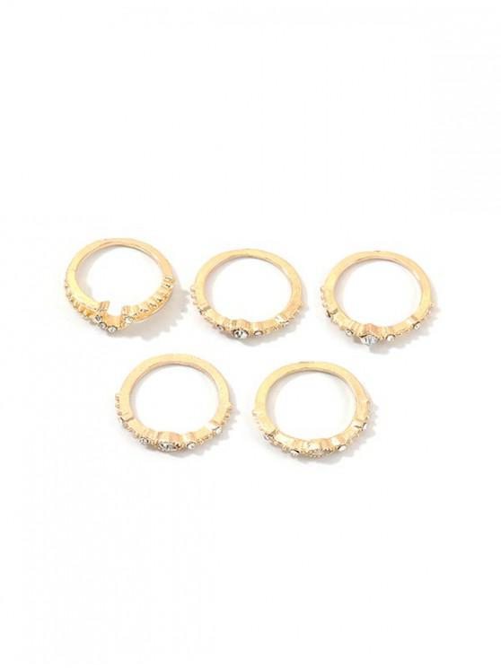 shops 5Pcs Moon Rhinestone Ring Set - GOLD