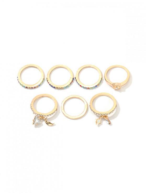 women 7Pcs Moon Geometric Rhinestone Rings Set - GOLD